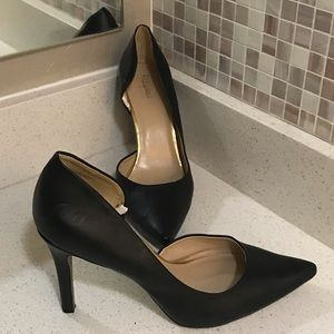 Merona Black Heels Pumps with Pointed Toe
